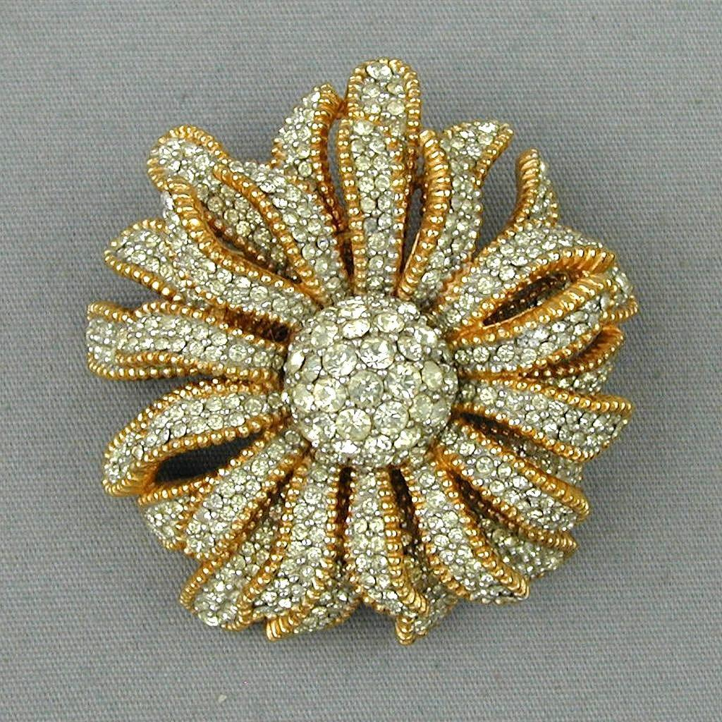 Gorgeous CINER Faux Diamond Covered Flower Pin Brooch