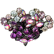Vintage Austrian Crystal Pretty Pin of Purples Plus Pinks