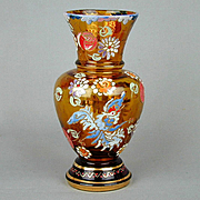 Bohemian Hand-Painted Enamel Glass Vase Exotic Bird
