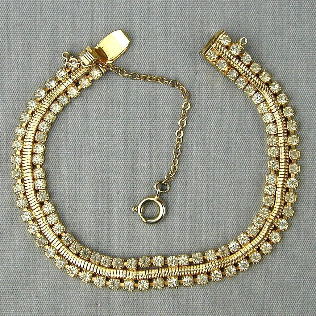 Vintage HOBE Faux Gold Diamond Bracelet
