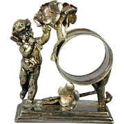 Victorian Silverplate Angel Cherub Napkin Ring c1880s Simpson Hall Miller