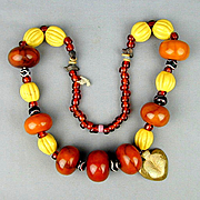 Huge Old Tribal Amber Bakelite Bead Necklace w/ Old Glass Trade Beads