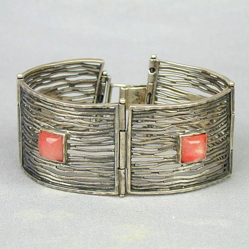 Vintage Silpada Sterling Silver Tourmaline WEB Link Bracelet - Retired