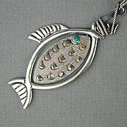 Modernist Sterling Silver Taxco Mexican Fish Pendant Necklace - Hooked