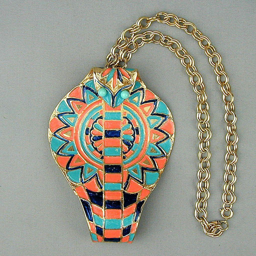 Vintage Signed Huge Egyptian Cobra Snake Head Pendant Necklace