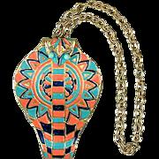 Vintage Signed Huge Egyptian Cobra Snake Head Pendant Necklace