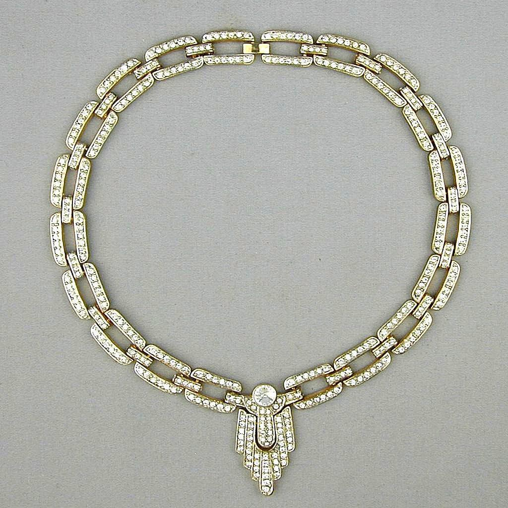 Vintage Art Deco Style Crystal Rhinestone Necklace Elegant Glam