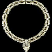 Vintage Art Deco Style Crystal Rhinestone Necklace Elegant Glam
