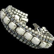 Vintage White Milk Glass Rhinestone Bracelet