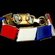Vintage Patriotic Red White & Blue Lucite Link Bracelet