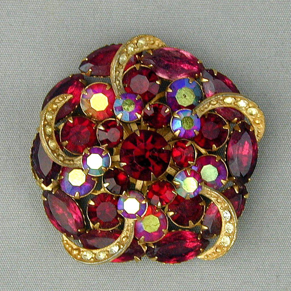 Vintage Big Rhinestone Pin Brooch - Aurora Borealis Red