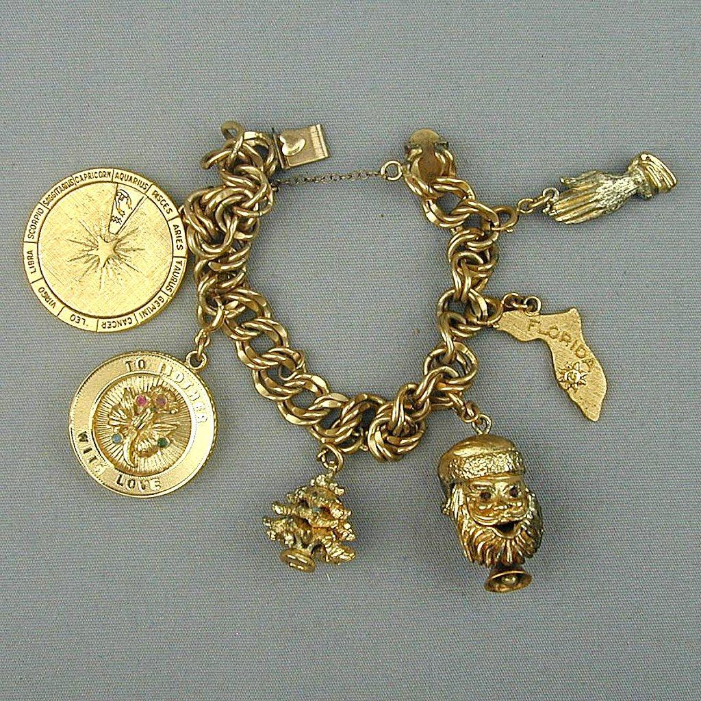 Chunky 1950s ELCO Gold-Filled Charm Bracelet - Mom Santa Florida Zodiac Wheel