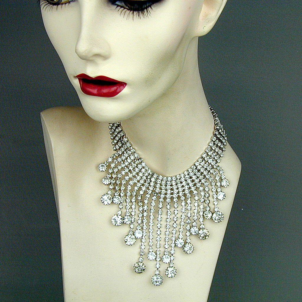 Big Vintage Clear Crystal Rhinestone Necklace Dangles Glam Galore
