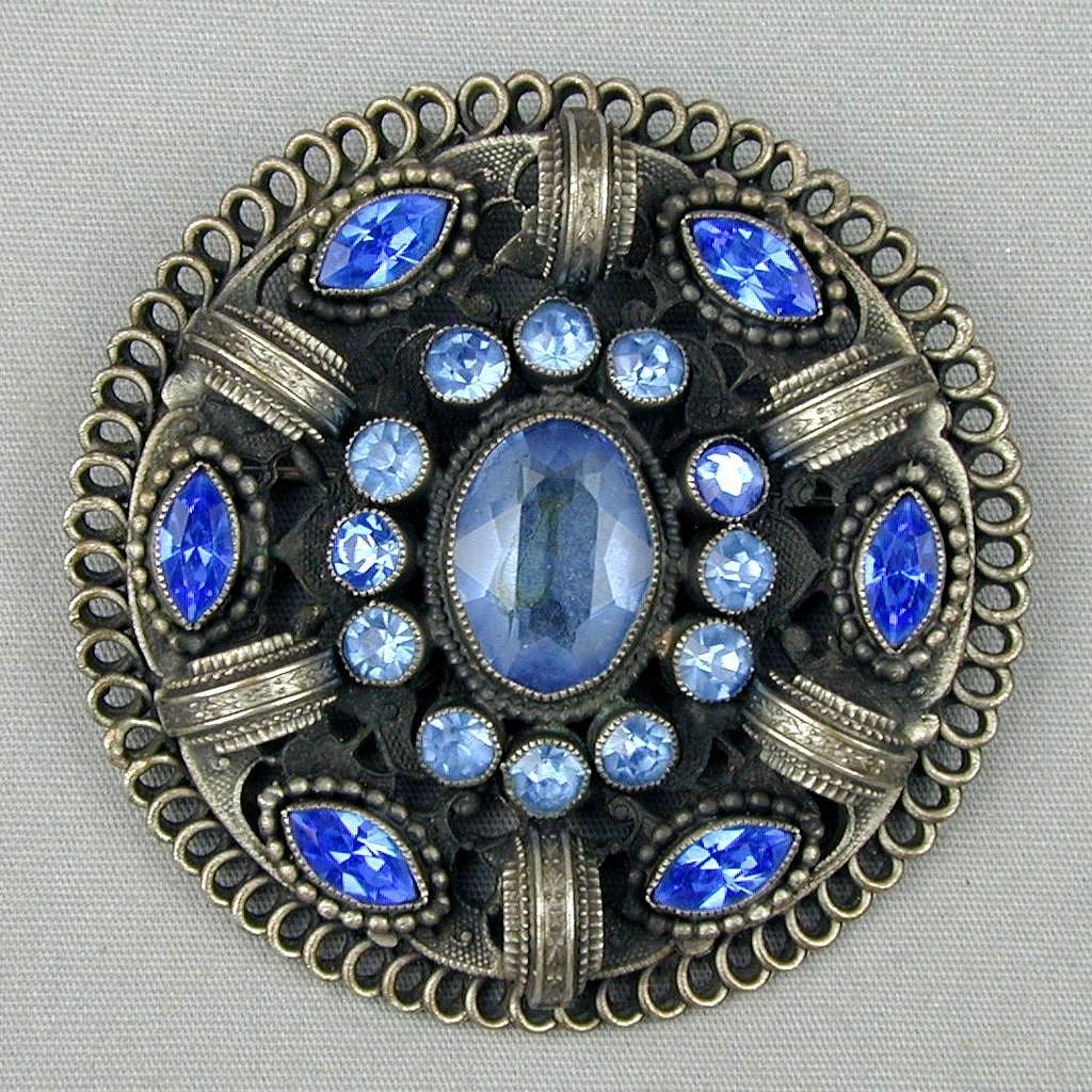 Big Old Round Gunmetal Gray Pin w/ Blue Rhinestones - Neat One