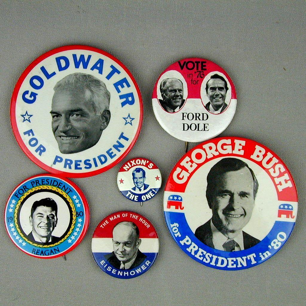 5 Original GOP President Political Pins & 1 Contender