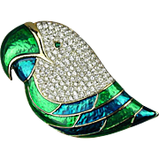 Vintage Enamel Rhinestone PARROT Pin Brooch - Big Bird Head