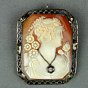 1920s Estate 14K White Gold Cameo Brooch Pendant Habille Diamond