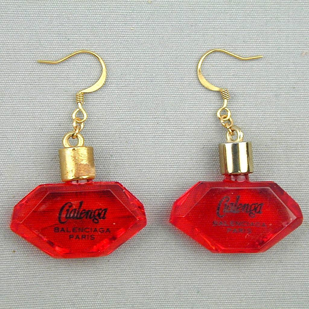 Vintage Balenciaga Lucite Cialenga Perfume Bottle Earrings