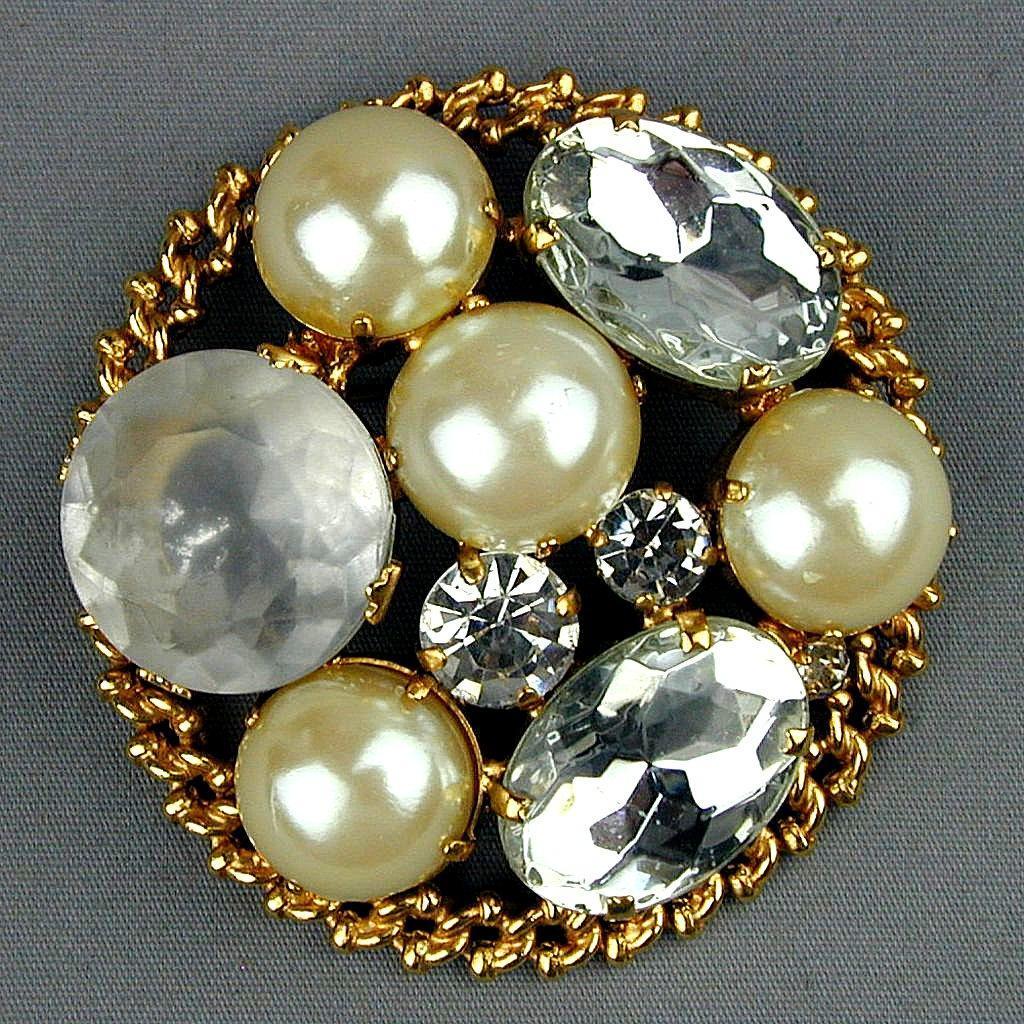 Les Bernard Vintage Pin - Big Brooch w/ Faux Pearls Rhinestones