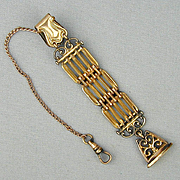 Antique Victorian Gold-Filled Watch Chain Fob Unique Pendant c1905