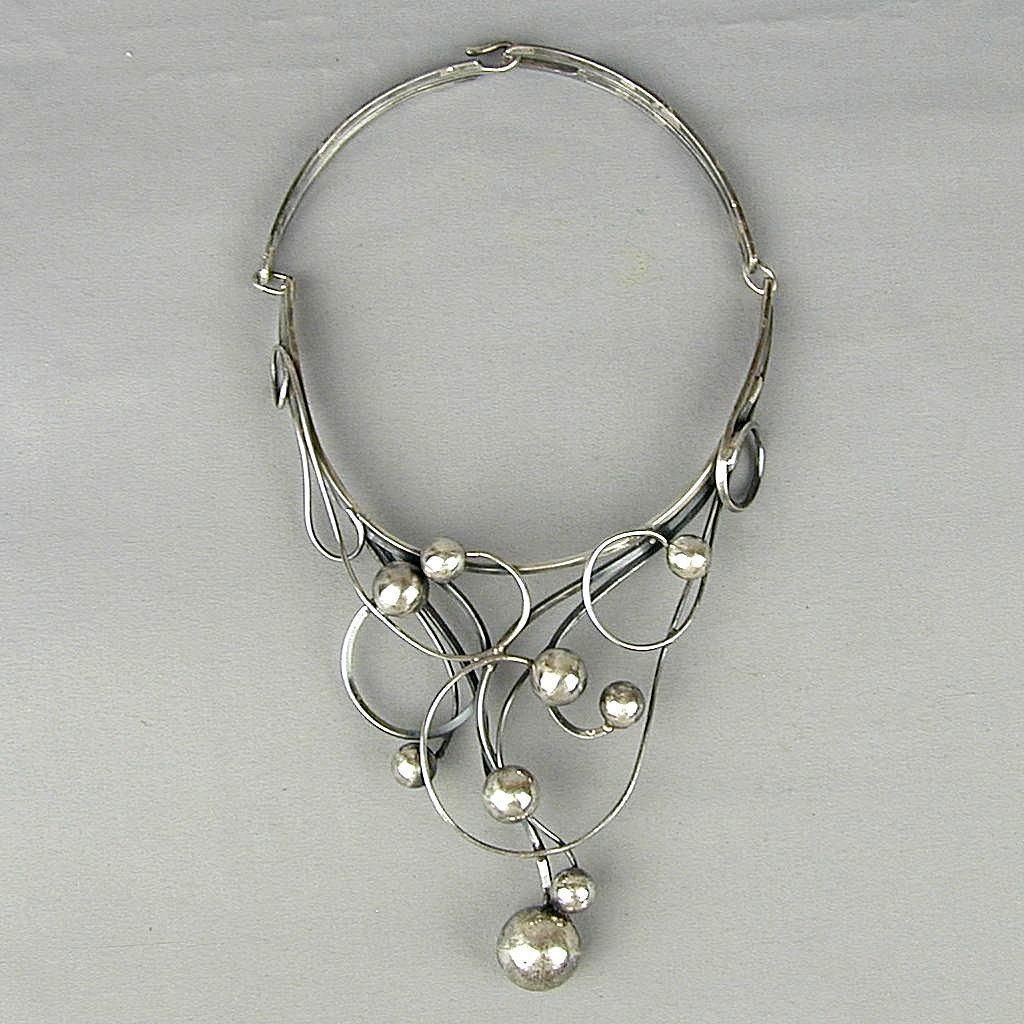 Modernist Rachel Gera Sterling Silver Sculpture Necklace 1970s