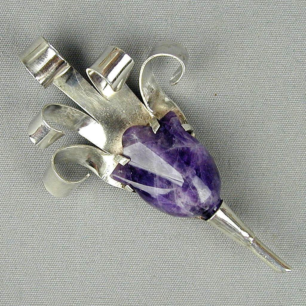SOLD - Modernist Sterling Silver Flower Pin w/ Big Carved Amethyst Stone