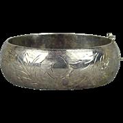 Vintage Sterling Silver Wide Etched Hinge Bracelet - Old Style