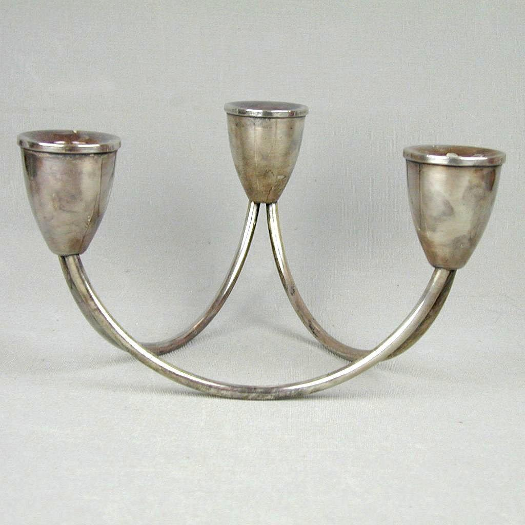 SOLD - Modernist Duchin Creation Sterling Silver 3 Arm Candle Holder