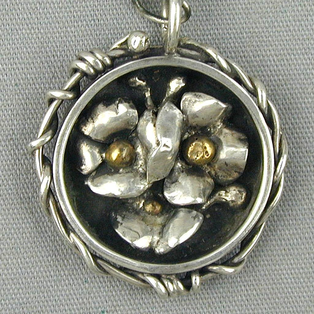 Old Handmade Sterling Silver Shadow Box Pendant Necklace Flowers