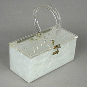 Vintage Lucite Box Handbag Carved Clear Pearly