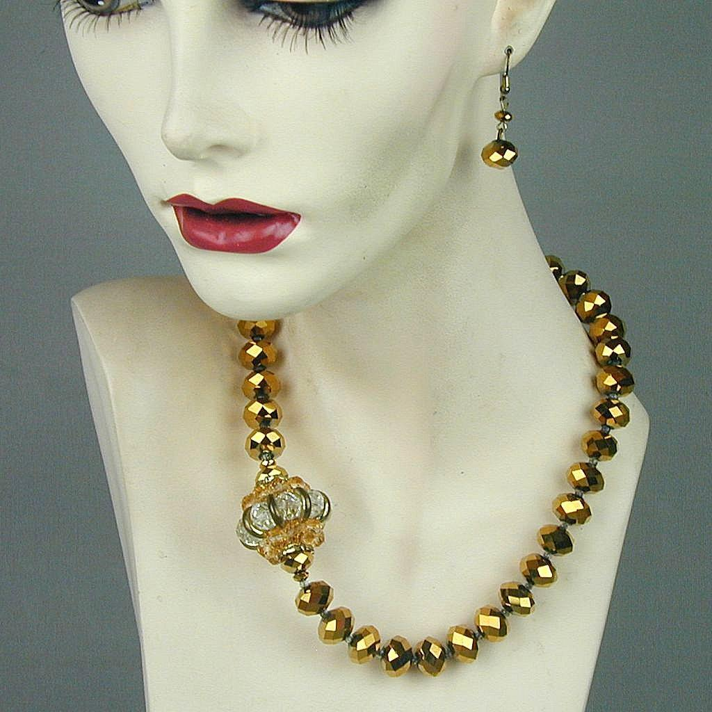 Vintage Bronze Tone Crystal Bead Necklace / Earrings Set