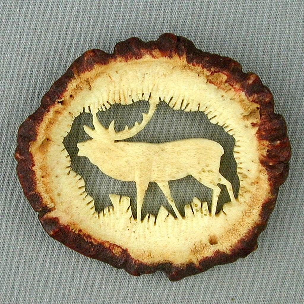 Old Hand Carved Horn Moose Pin Brooch Elk