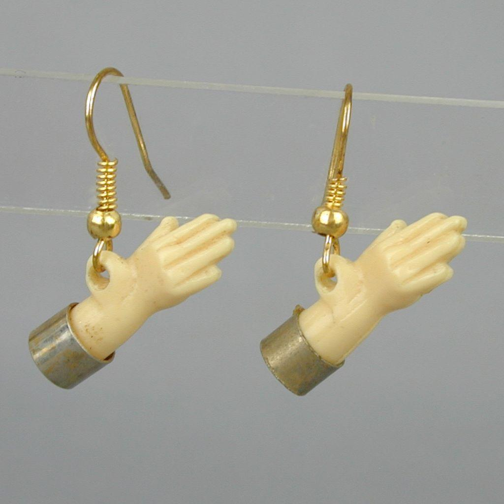 Vintage 1950s Little Hand Plastic Dangle Earrings