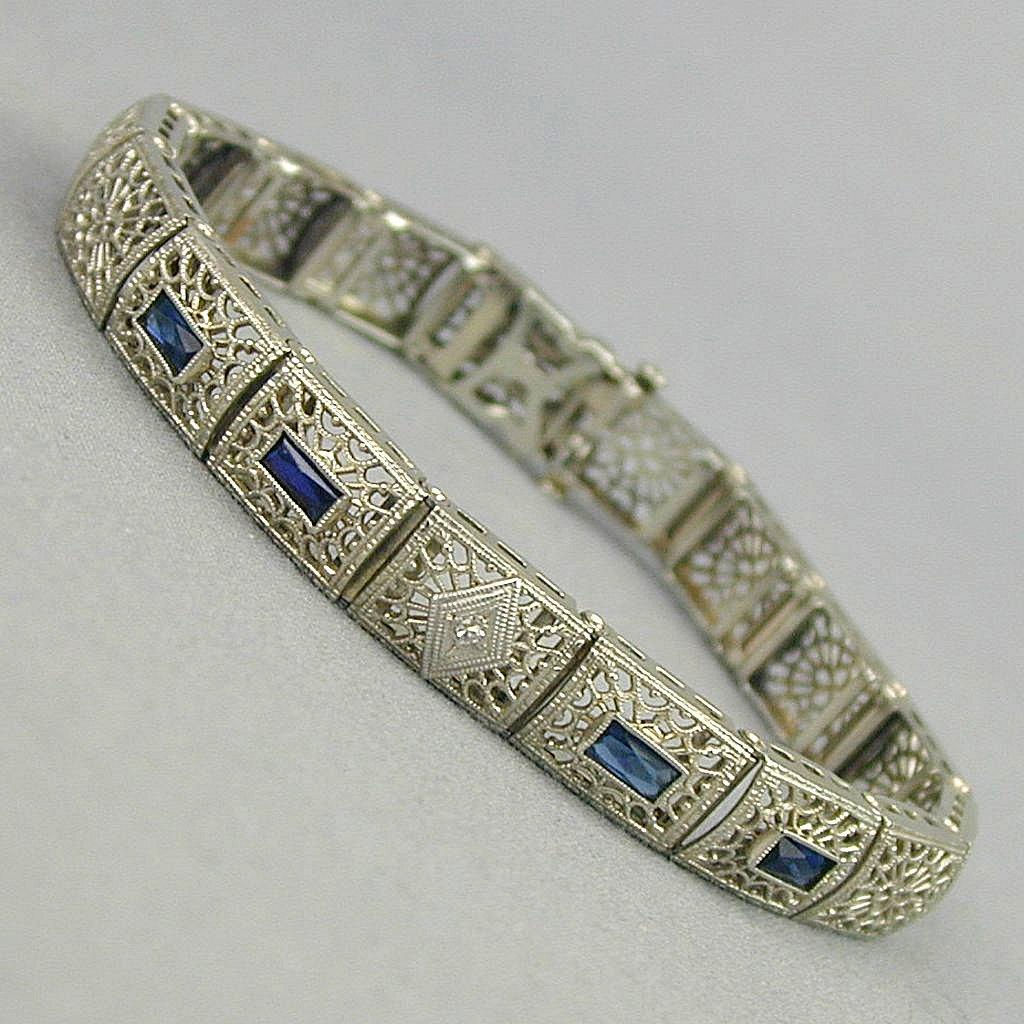 1920s Art Deco 10K Gold Bracelet w/ Diamond - Faux Sapphires