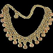 Vintage Bib Gilt Necklace w/ Crystal Dangles