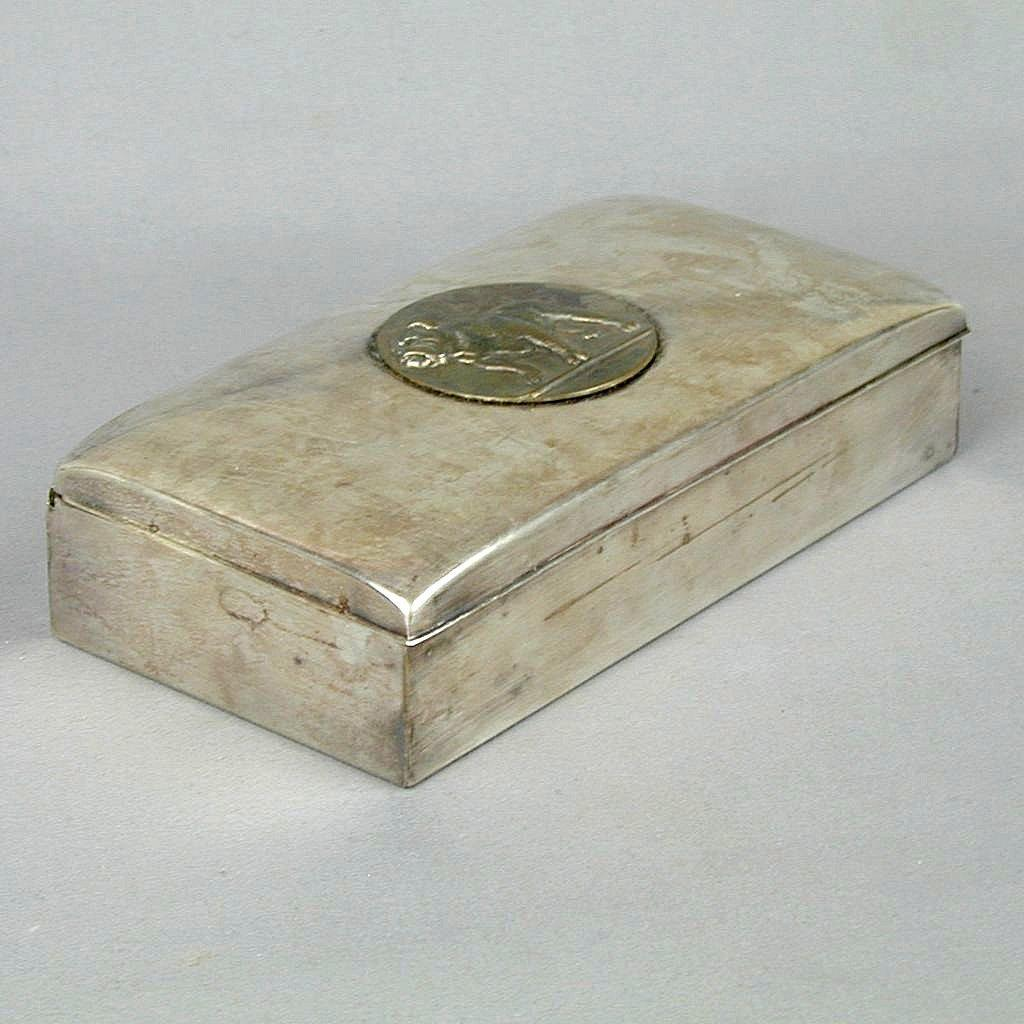 Poole Silver 1899 Silver-Plated Coach Award Box w/ Bulldog Yonkers H.S.