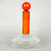 Art Deco 1930s Bakelite Glass Perfume Bottle