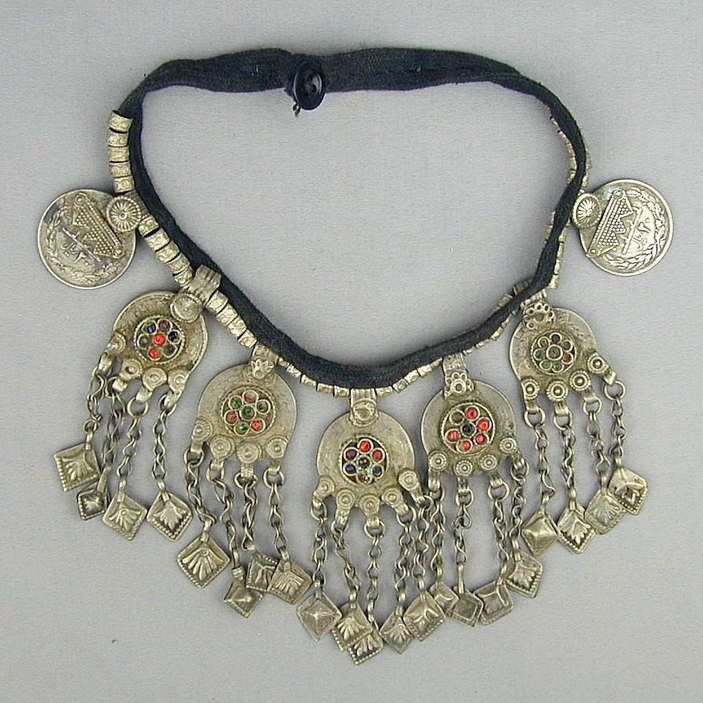 Vintage Tribal Ethnic Necklace Coins Glass Big Bib Collar