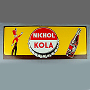 Old Original Nichol Kola Litho Tin Sign w/ Majorette - Bottle Unused c1940