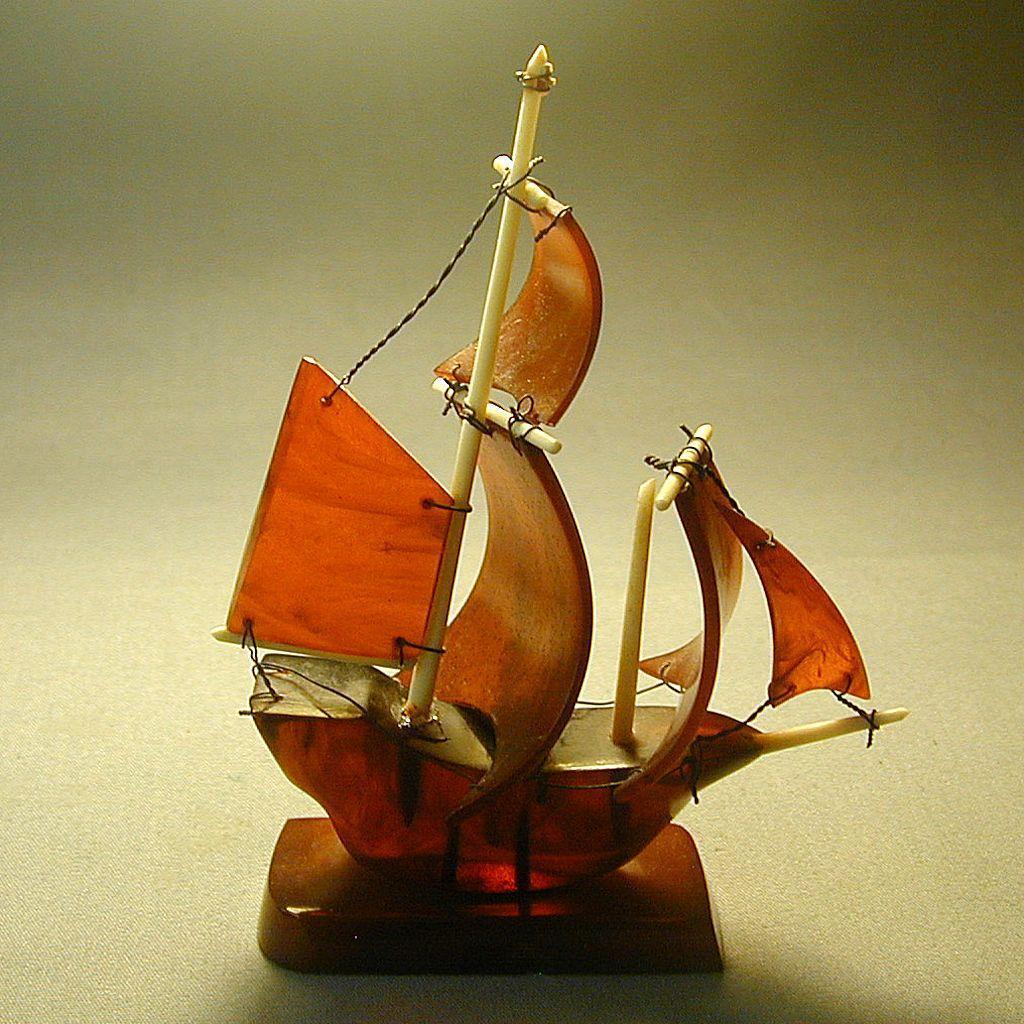 Vintage 1930s Amber Bakelite Figural Schooner Ship Figurine