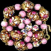Venetian Glass Wedding Cake Beads Necklace - Big & Luscious
