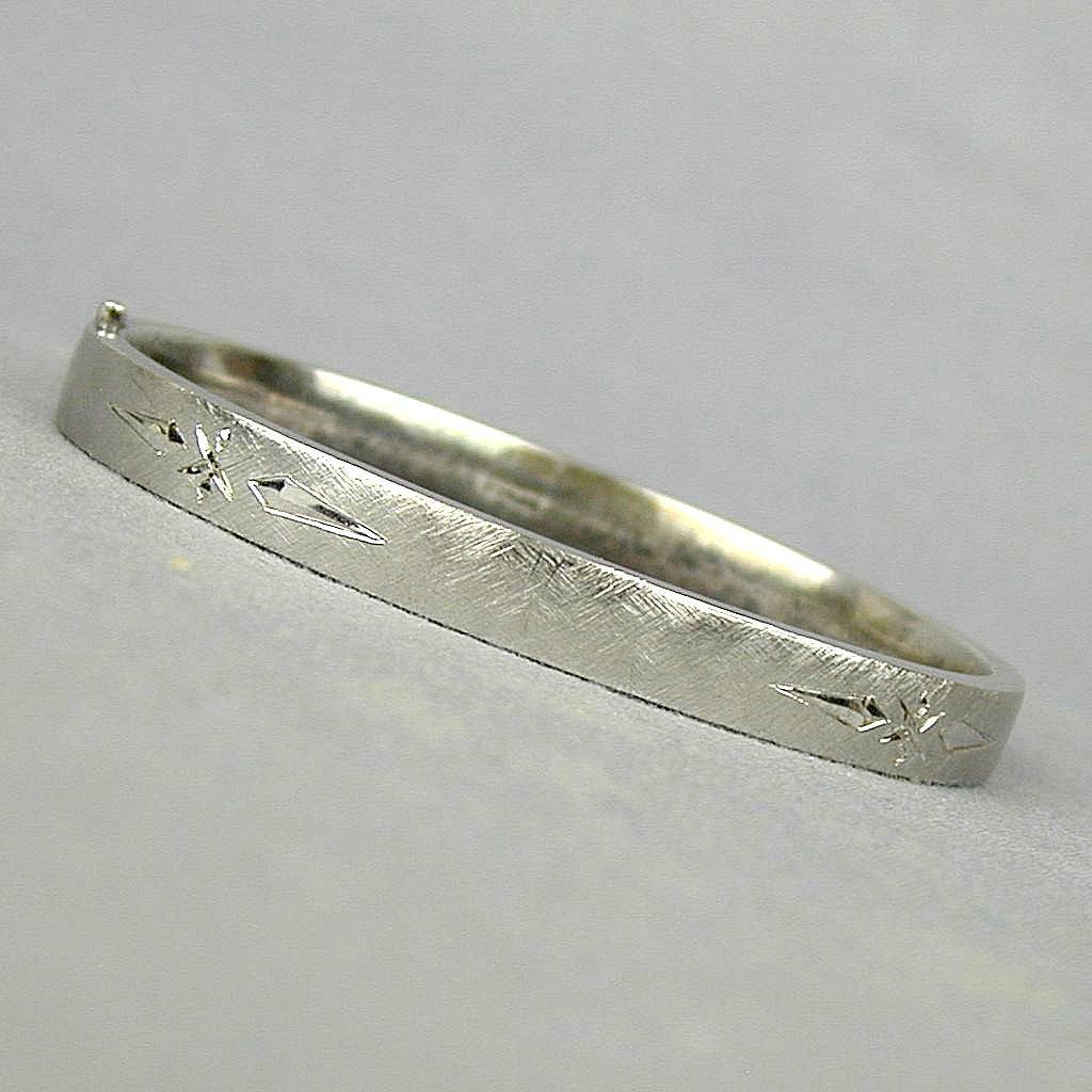 Vintage Sterling Silver Hinged Bangle Bracelet - Etched w/ Facets