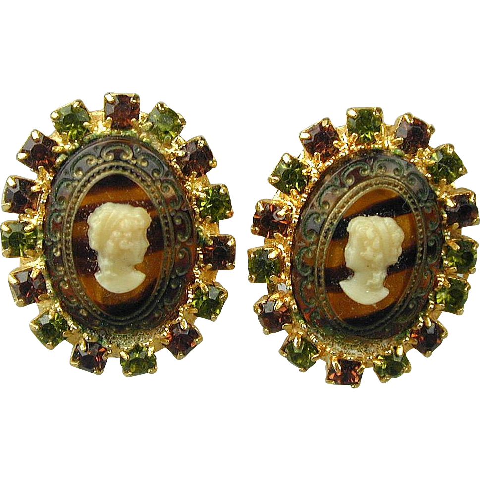 Vintage Hobe Glass Cameo Clip Earrings Rhinestones From