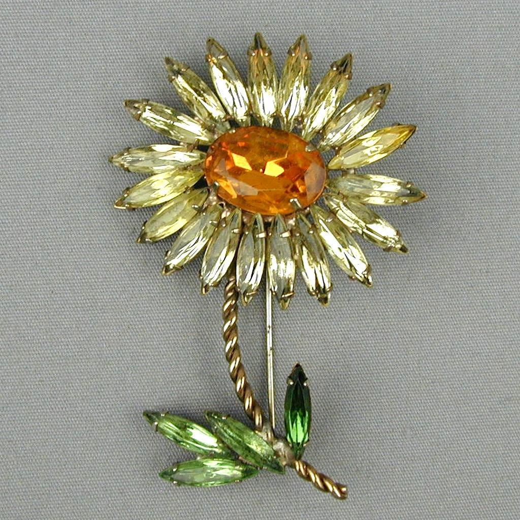 Vintage Crystal Rhinestone SUNFLOWER Pin Brooch
