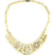 Vintage Hand-Carved Reticulated Bone Necklace