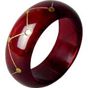 Vintage Lucite Translucent Cherry Red Bangle Bracelet w/ Brass Inlay