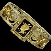 Art Deco Gold-Filled Simmons Venetian Bracelet w/ Glass Intaglio Cameo