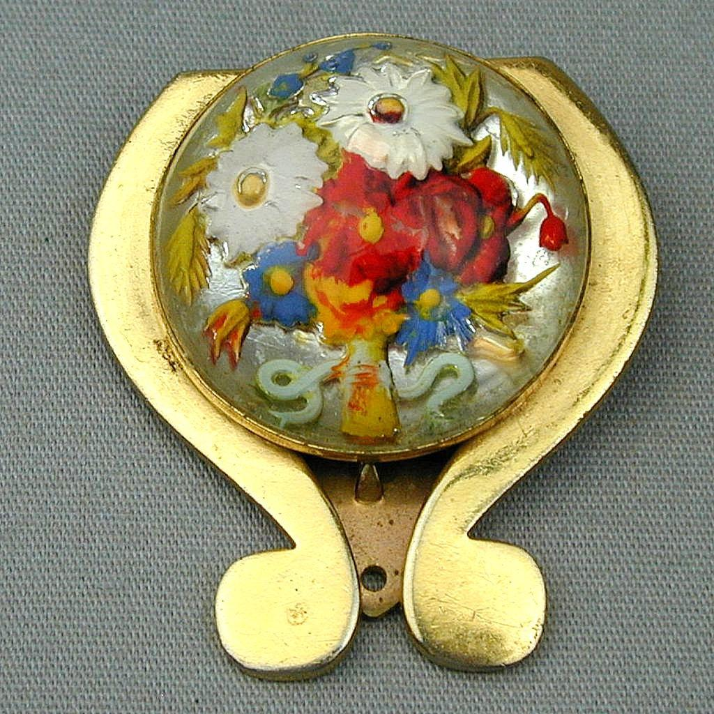 Art Deco Era French Reverse Carved Painted Glass Clip Pin Colorful Floral