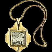 Bold Vintage RAZZA Lion Zodiac Pendant Necklace
