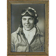 Original WWII FLYBOY Photo in Frame - Aviator Uniform - Cousin Earle